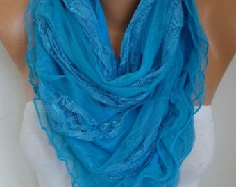 Blue Lace Scarf Shawl, Bridal Accessories, Bridesmaid Gifts, Gift Ideas For Her, Women Fashion Accessories,Christmas Gift