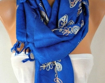 Royal Blue Embroidered Scarf Shawl Cowl Women Fashion Accessories Gift Ideas For Her Women Scarves Best selling item scarf