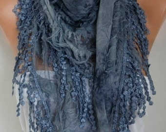 Gray Printed Scarf,  Teacher Gift, Fall Winter Shawl Scarf, Cowl Gift Ideas for Her,Women Fashion Accessories best selling items