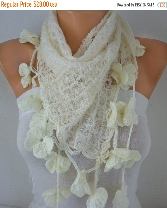Creamy White Scarf Mother's Day Gift Spring Winter Accessories Bridal Bridesmaid Gift Cowl Gift Ideas for her Women Fashion Accessories