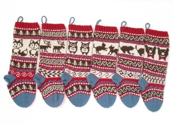 Fox Christmas Stocking Fairisle Knit Holiday Stocking Santa