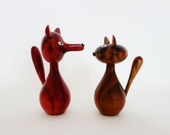 Mid Century Fox and Cat Wooden Figurines from German Erzgebirge