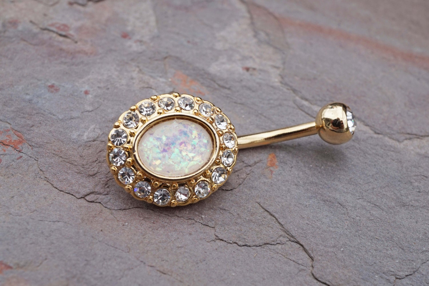 14kt gold belly button ring white opal belly button rings