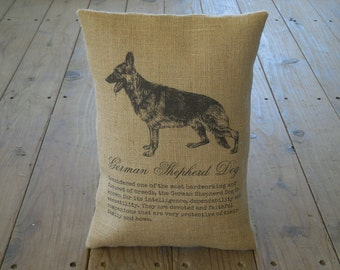 German Shepherd Burlap Pillow, Dog Decor, Shabby Chic, INSERT INCLUDED