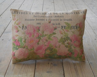 Vintage Roses Burlap Pillow, Shabby Chic, Christmas Gift, INSERT INCLUDED