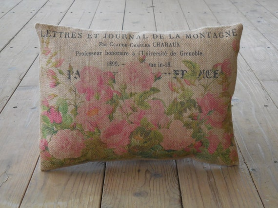Shabby Chic Christmas Pillows : Vintage Roses Burlap Pillow Shabby Chic Christmas Gift