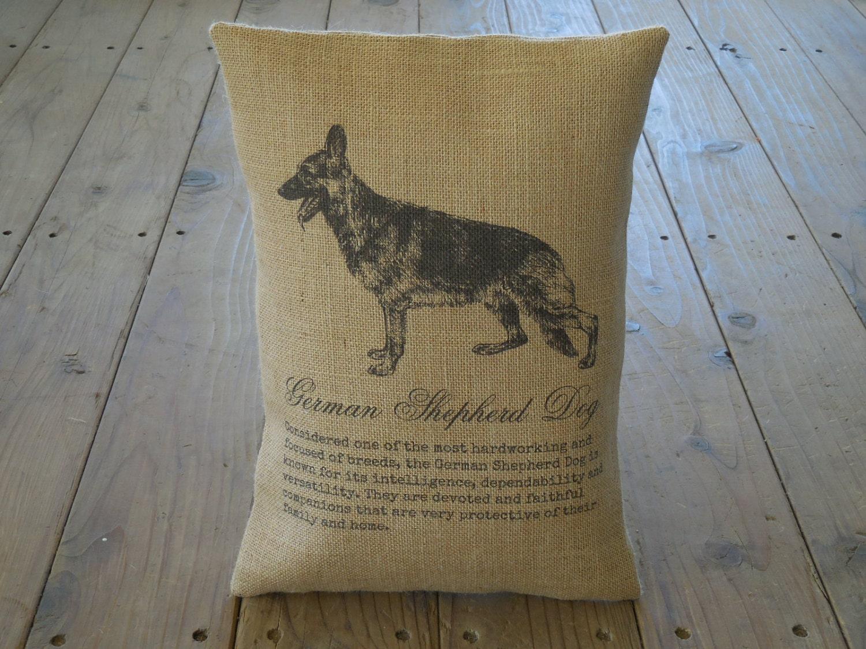 German Shepherd Burlap Pillow Dog Decor Shabby Chic INSERT