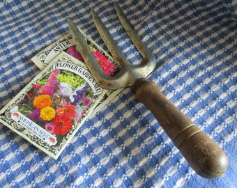 Garden Fork    Made in USA  Trump   Vintage Garden Tool   Wood Handle