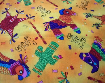 Pinatas Fabric Yellow Background Candy Party  New By The Fat Quarter