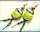 Funky, Boho, Artisan Earrings, Porcelain, Rustic, Lime Green, Beaded Earrings, Tribal, Primitive, Urban