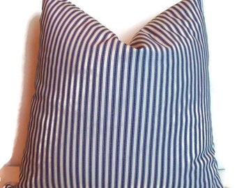 Blue Ticking Farmhouse Decorative Pillow Cover Navy Cream Ticking Stripe Farmhouse Cottage Pillow