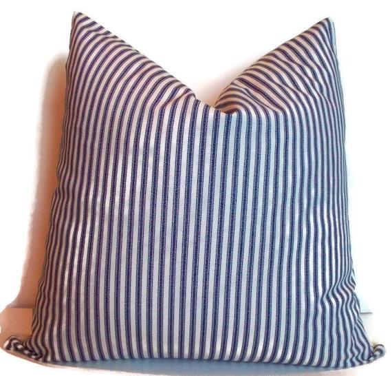 Blue Ticking Pillow Farmhouse Decorative Pillow Cover Navy