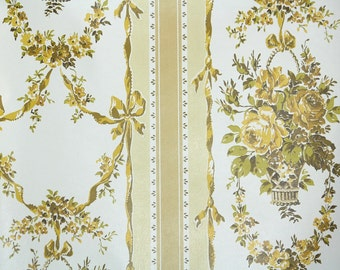 Retro Wallpaper by the Yard 70s Vintage Wallpaper - 1970s Gold Rose Bouquets in Stripe
