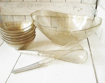 Vintage salad set sparkly clear Lucite gold glitter bowls, serving fork, spoon Styron Art Products 1950s