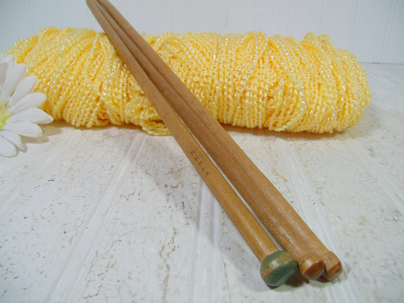 Vintage Knitting Needles : Vintage wooden large knitting needles trio collection retro