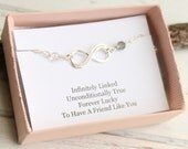 Sterling Silver Two Birthstone Infinity Bracelet with Friendship Sentiment Card