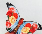 Red Yellow Rose and Blue Butterfly Wooden Brooch Pin Birthday Gift Wood Roses Nature Wildlife Small Present Insect Unique for Her
