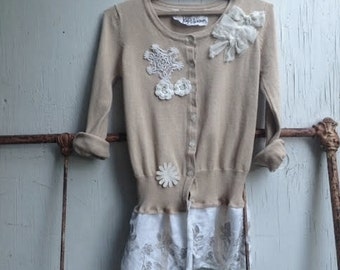 CUSTOM example made to order eco upcycled rustic shabby boho flower girl bridesmaid wedding sweater