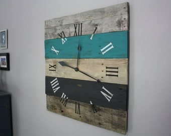 "Reclaimed Wood Clock. LARGE. 26"" by 26""  MODERN meet RUSTIC. Turquoise & Black Pallet Wood Wall Clock. Home Decor. You Choose Color."