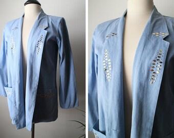 Vintage 80s Lightweight Denim Studded Jacket/Blazer with Pockets Size M/L