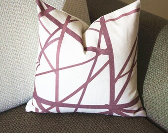 Channels Pillow Cover -Plum Oatmeal Pillow - Designer Geometric Pillow Cover 384