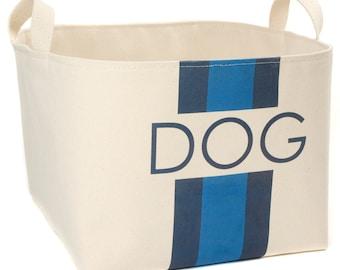 Dog Canvas Storage Basket, Blue/Navy Stripes