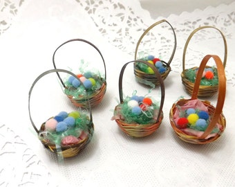 6 miniature easter baskets for miniature easter trees or Easter decor