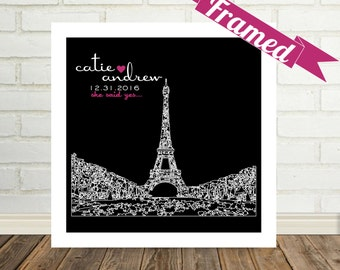 Destination Wedding Gift City Skyline FRAMED ART Print Paris France Any City Available Unique Wedding Gift Engagement Gift Valentine Gift