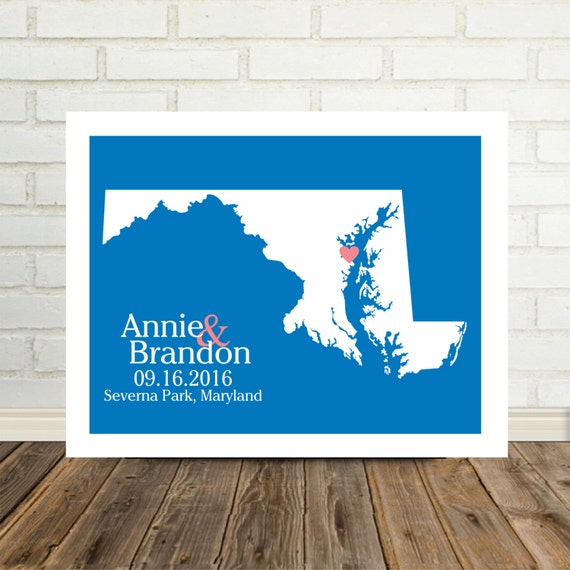 Maryland Wedding Gift Maryland Map Maryland Print Maryland Poster Personalized State Map Art  Christmas Gift Valentines Day Gift for Him