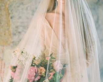 Heirloom blusher sheer Silk Tulle veil cathedral length in Ivory