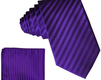 """Men's Vertical Striped Purple 2.5"""" Necktie and Handkerchief, for Formal Occasions (625)"""