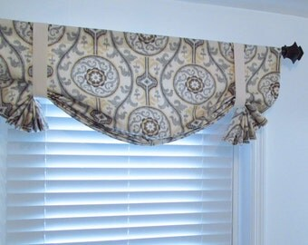 Tie Up Valance Suzani Ikat Lined Window Treatment Handmade in the USA