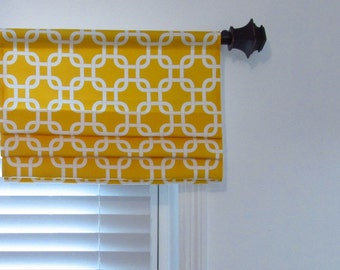 Faux Roman Shade  Lined  Mock Valance Geometric Gotcha Corn Yellow and White  Custom Sizing Available!