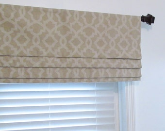 Custom Faux Roman Shade Sheffield Blend Linen Cloud Fake Roman Shades  Lined Mock Valance