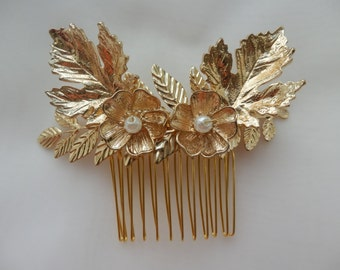Gold leaf bridal hair comb, Gold Bridal Headpiece, Wedding, Bridal Accessories