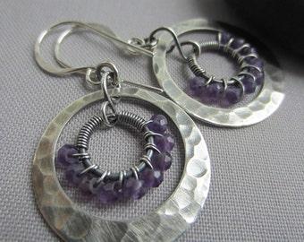 SALE 20% OFF/ Hoop Earrings/ Amethyst  Earrings/ Silver Hoop Earrings w. Amethyst/ Artisan Earrings/ Texturized earring/ February Birthstone