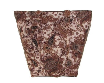 Brown Paisley Tote Bag, Floral Cloth Purse, Fabric Bag, Handmade Handbag, Shoulder Bag, Flowers