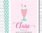 Ice Cream Milkshake Summer Birthday Party Digital Invitation