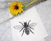 Honey Bee Kitchen Towel-Flour Sack Tea Towel-Hand Printed French Bee-Dish Cloth-Kitchen Decor-Screen Printed Tea Towel-Housewarming Gift