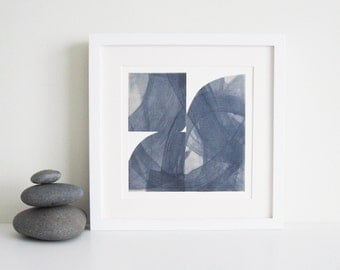 "Etching Print. Fine Art Print . Steel Blue Gray Home Decor : ""Pane 58"".Size 12"" x 12"" . unframed ."
