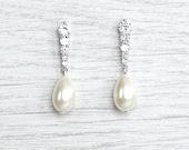 Bridal teardrop pearl earrings. Crystal dangle earrings. Simple bridal crystal earrings. Bridesmaids earrings.  Bridesmaids gift. Wedding