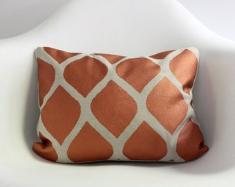 "Aya 12x16"" pillow cover hand printed in metallic copper on greige organic hemp"