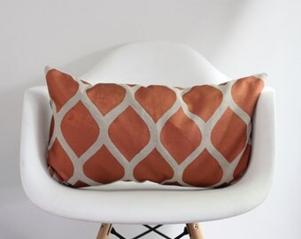 "Aya 12x21"" pillow cover hand printed in metallic copper on greige organic hemp"