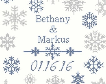 Winter wedding cross stitch pattern/winter cross stitch pattern/wedding cross stitch pattern/snowflake cross stitch pattern/snowflake/PDF