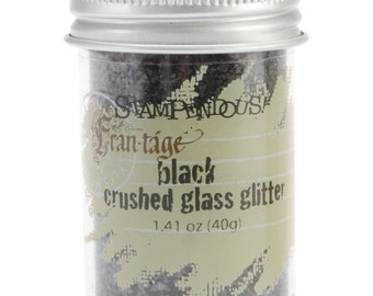 BLACK Crushed Glass Glitter, Stampendous Frantage, 1.4 oz. jar, for ICE Resin, Scrapbook Embellishment, Mixed Media, cft0037