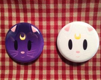 Luna and Artemis (Sailor Moon) Button Set