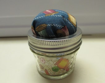 Jar Pincushion - Blue with Thread