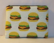 """Padded Pipe Pouch, Cheeseburger Bag, XL Pipe Case, Pipe Bag, Padded Pouch, Stoner Gift, Munchies Bag, Hamburger Bag, 7.5"""" x 6"""" - X LARGE"""