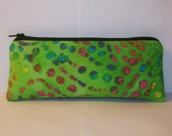 "Padded Pipe Pouch, Trippy Green Bag, Pipe Case, Glass Pipe Bag, Pipe Cozy, Funky Bag, Hippie Purse, Stoner Gift, Vape Pen Case - 7.5"" LARGE"