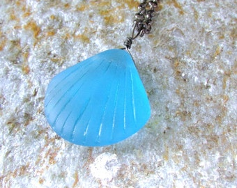 Sea glass pendant blue beach glass clam shell bead extra long black chain black wire wrapped jewelry
